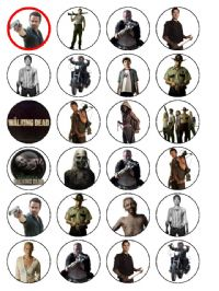 24 x The Walking Dead Set 2 Edible Wafer Cup cake Top Toppers